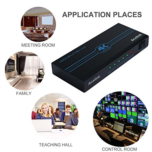 AcelinkHDMI分配器スプリッター1入力4出力ON/OFFスイッチ4Kx2K/3D/HDCP対応高画質出力HDMISplitter変換アダプター