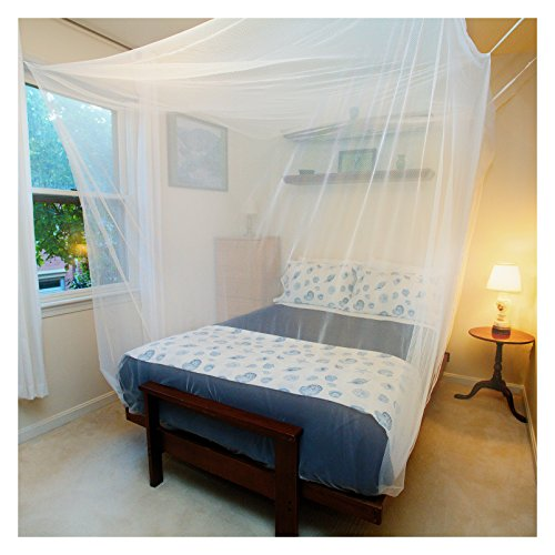 Tedderfield Premium Mosquito Net for Single to Queen Size Beds, Rectangular White Mosquito Netting Canopy for Indoor Outdoor Use, Natural Insect Repellent, Includes Hanging Kit and Carry Bag