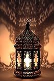 Orientalische Laterne aus Metall & Glas Wifaq Klar 40cm | orientalisches Windlicht schwarz mit Glas...