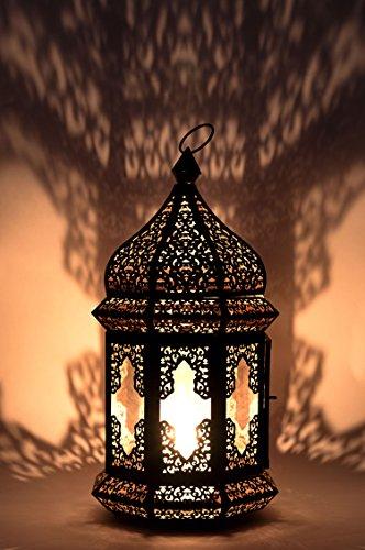 Orientalische Laterne aus Metall & Glas Wifaq Klar 40cm   orientalisches Windlicht schwarz mit Glas   Marokkanische Glaslaterne für draußen als Gartenlaterne, oder Innen als Tischlaterne