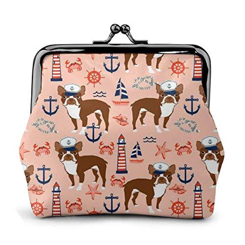 Billetera de Cuero Boston Terrier Anclas náuticas de Verano Hebilla Monederos Monedero Vintage Kiss-Lock Cambiar Monedero