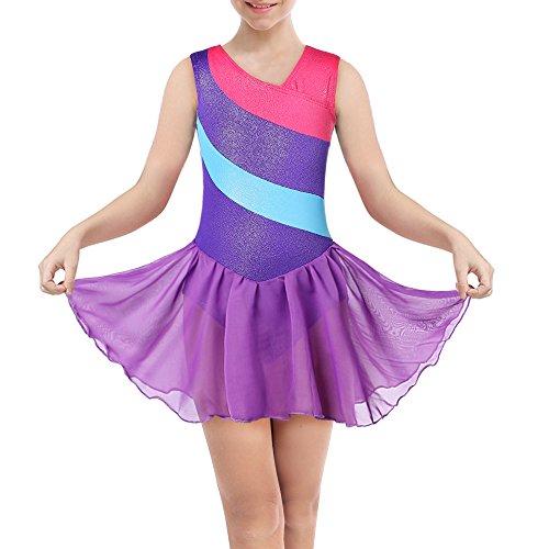 DAXIANG Body per Ginnastica per Ragazze Maniche Lunghe a Righe Arcobaleno con Gonna in Tulle Balletto (Purple, 120(4-5Y))