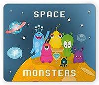 """8"""" X 10""""エイリアンマウスパッド、スペースモンスターの書道と月面のカラフルな奇妙な存在、長方形の滑り止めのゴム製マウスパッド、標準サイズ、スレートブルー、マルチカラー"""