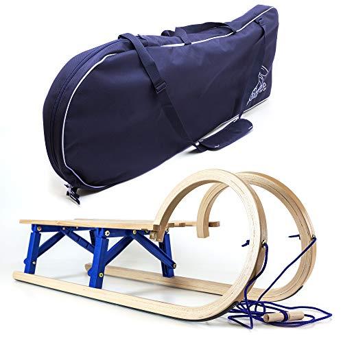 Holzfee Hörner Klappschlitten 110 cm mit Tasche und Leine Tourer Baran Blue Set XL
