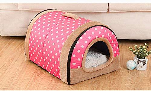 N / A Dog House Nest Mit Mat Faltbare Heim-Hundebett-Katze-Welpen Hundehütte für Small Medium Hunde Tiere Betten Mat Cushion-Brown_58cmx40cmx35cm,35cmx26cmx28cm,roter Punkt