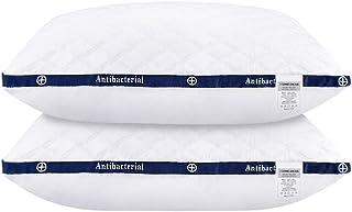 HOMEIDEAS Luxury Plush Gel Fiber Pillows, 100% Cotton Hotel Down-Alternative Pillows, Good for Side and Back Sleeper (2 Pack, King)