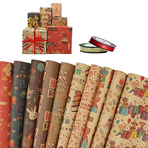 Mengxin 10 Feuilles Papier Cadeau Anniversaire pour Enfants Papier Emballage Cadeau Kraft et 2 Rouleau de Ruban pour Anniversaire, Noël, Vacances, Mariage, Douche