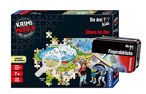 Franckh-Kosmos Verlag Die DREI ??? - Set: Chaos im Zoo (Krimi Puzzle) + Forscherkästchen (Verschiedene Auswahl)