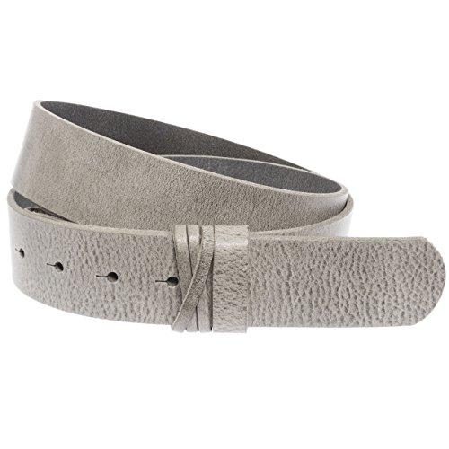 Luca Kayz Damen-Ledergürtel Wechselgürtel ohne Wechselschnalle GUMP 4cm grau grey Bundweite 95cm