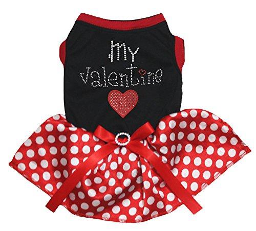 Petitebelle Mijn Valentijn Hart Zwart Katoen Shirt Polka Dots Rood Tutu, Small, Rood