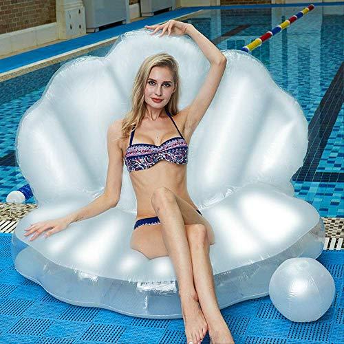 AHJSN Riesen Perle Jakobsmuscheln Aufblasbare Pool Float Shell Mit Griff Und Perle Ball Wasser Sofa Party SchwimmenWeiß