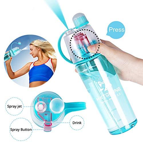 HKTOPONE niño Botella de Agua Deporte en Aerosol para Beber Botella de Agua Ciclismo Sin BPA 600 ml para Gimnasio, Ciclismo Correr Escalada Senderismo y montañismo (Azul)