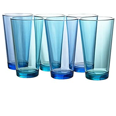 Bistro Premium Quality Plastic 20oz Water Tumbler | Set of 6 Multicolor