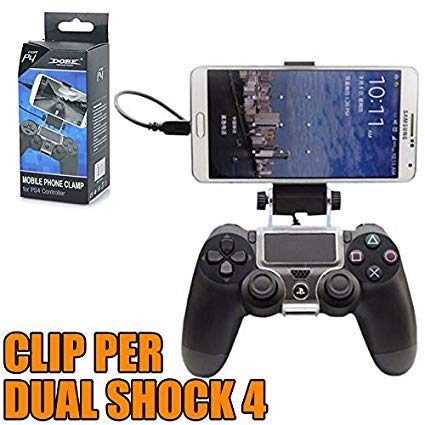 OUTLETISSIMO® ADATTATORE CLIP UNIVERSALE CELLULARI CONTROLLER PS4 IPHONE ANDROID + CAVO OTG
