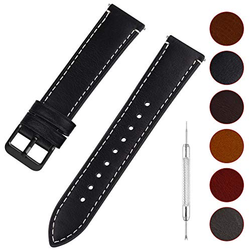 Fullmosa Uhrenarmband Leder mit Schnellverschluss, Wax Oil Serie in 22mm,Schwarz+Rauchgraue Schnalle