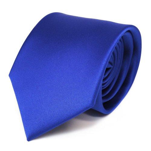 TigerTie Designer Satin Krawatte in blau royalblau einfarbig uni