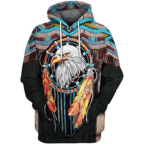 QYIFIRST Sudadera con capucha para disfraz de indios con capucha, unisex, impresin 3D, color marrn, talla M 3XL (pecho 119 cm)