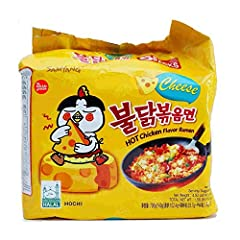 Official Samyang Brand Product Pack of 5 Cheese Flavored Hot Chicken Flavor Ramen Product of Korea