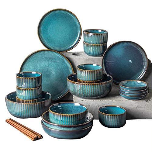 Porcelain Dinnerware Set,Ceramic Plates and Bowls Sets,Modern Creativity Vintage Lounge Round Reactive Glaze Stoneware Dishes Set for Kitchen/Dining, Service for 8 (28pcs)