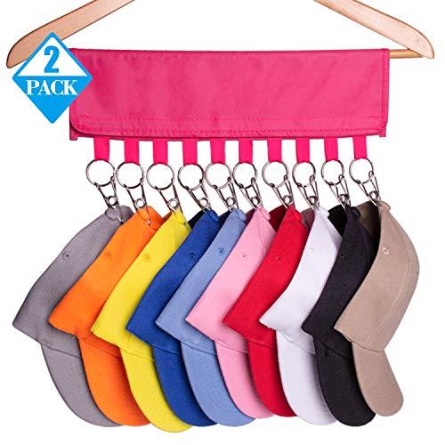 Xieda 2 Pieces Hat Organizer Hanger Cap Organizer Hanger Hat Holder with 10 Steel Clips for Closet (Rose red)