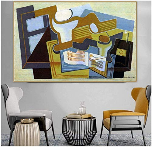 Juan Gris Old Famous Master Artista español Guitarra y frutero Lienzo Pintura Póster Impresión Decoración para el hogar Arte de la pared -50x70cm Sin marco