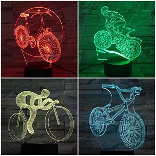 Nur 1 Stück Fahrrad Nachtlicht LED 3d Illusion Kinder Kinder Geschenk Baby Nachtlicht USB Touch Sensor 7 Farbwechsel Fahrradlampe Nachttisch