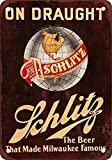 Anjoes Schlitz Beer on Draught Vintage Look Reproduction Metal Tin Sign 8X12 Inches