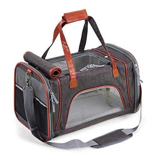 PETTOM Transporttasche für Katzen Hunde mit Abnehmbarer Platte und Matte, 5-Mesh-Tragetasche aus Leinen, für Fluggesellschaft genehmigt die Reise und den täglichen Gebrauch zugelassen (Dunkelgrau)