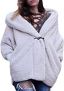 Womens Warm Fuzzy Jacket Hooded Sherpa Coat Open Front Outwears