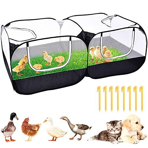 Parque de juegos para mascotas plegable, portátil, transpirable, recinto 2 en 1 para uso al aire libre/interior de pollo, conejo, perro corriendo y más cerca de la naturaleza (negro 185 x 91 x 63 cm)