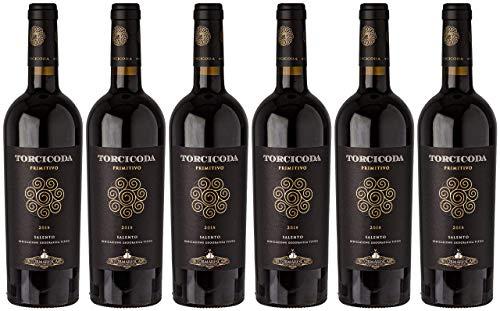 2018 Torcicoda Primitivo Salento IGT Tormaresca Rotwein trocken Apulien/Italien, Paket mit:6 Flaschen