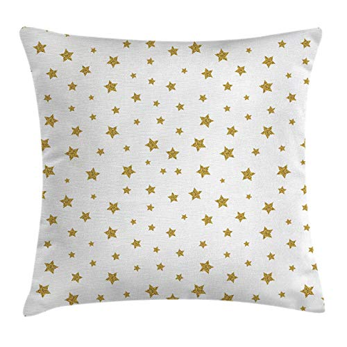 Star Throw Pillow Cushion Cover, Stars Pattern Illustration Creative Birthday Bachelorette Themed Print, Decorative Square Accent Pillow Case 18inch*18inch