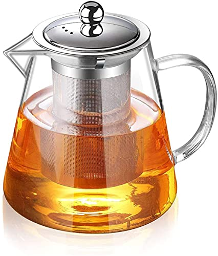 Infusor de té de cristal simple de 1300 ml para calentar en el recipiente, con estilizador de acero inoxidable de borosilicato.