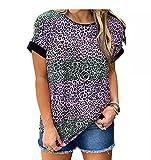 Camiseta Casual De Manga Corta para Mujer con Estampado De Leopardo Y Cuello Redondo Tops Sueltos