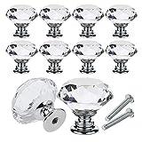 YCDC Pomos de cristal para cajón de cajón con forma de diamante de 40 mm para aparador y cocina, armario y armario (10 unidades), color plateado