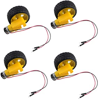 4 pcs 65 x 26mm Plastic Tire Wheel with DC 3-6v Gear Motor Dual Shaft for Arduino Smart Car