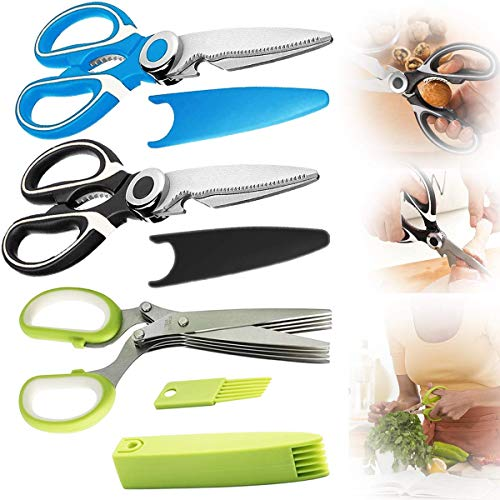 3 Pcs Kitchen Shears Heavy Duty, Kitchen Scissors Herb Scissors Set, Kitchen Scissors Heavy Duty Meat Scissors Multipurpose Poultry Shears for Cutting Poultry Herbs Green Onions Fresh Chicken Fish BBQ