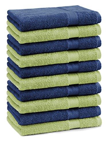 Betz Lot de 10 Serviettes débarbouillettes lavettes Taille 30x30 cm 100% Coton Premium Couleur Bleu foncé et Vert Pomme