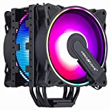 ABKONCORE RGB CPU Cooler CT404B, 4 Continuous Direct Contact Heatpipes, Dual 120mm PWM SYNC Addressable RGB Fans with SYNC 61 LED Modes for Intel LGA1151/1200, AMD AM4/Ryzen CPUs(120mm Dual)
