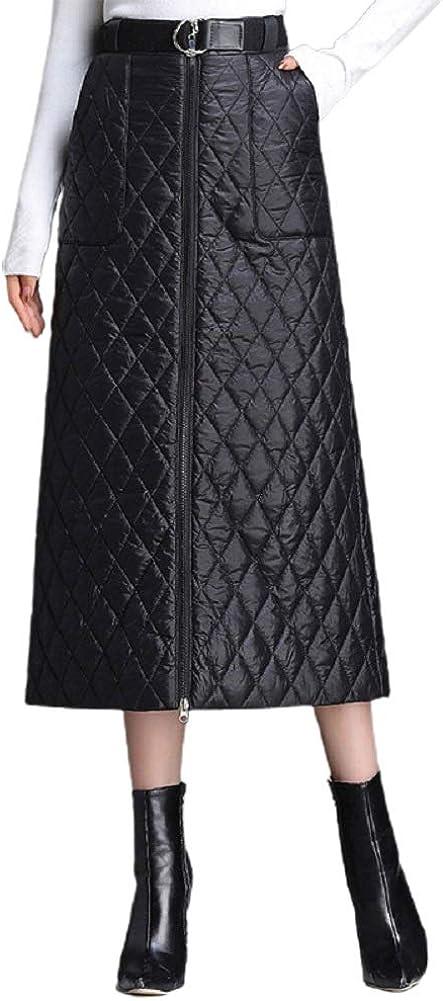 CHARTOU Women's Winter Belt Waist Zipper Front Quilted A Line Midi Long Skirt