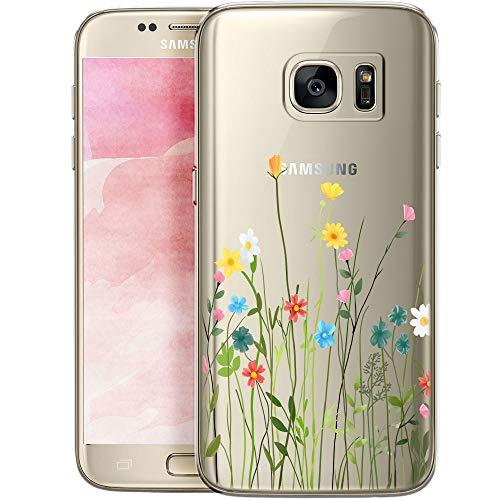 QULT Handyhülle kompatibel mit Samsung Galaxy S7 - Transparente Silikon-Handyhülle mit niedlichen Motiven - Ultraflache Kratzfestes Bumper Blumenwiese
