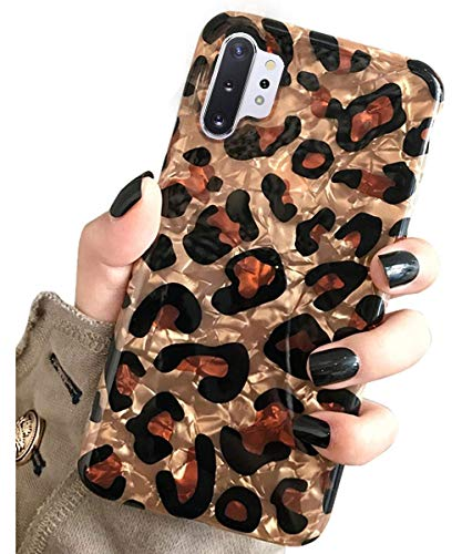 J.west Case for Galaxy Note 10+ Plus Luxury Sparkle Bling Translucent Leopard Print Soft Silicone Phone Case Cover for Girls Women Slim Design Pattern Protective Case for Samsung Galaxy Note 10 Plus