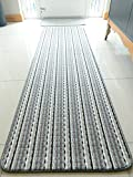 Colourful Non Slip Gel Backing Washable Hall Runner Rug Office Living Room Kitchen Rug Large Utility rug Door Mat Indoor (silver/grey, 57 x 180 cms)