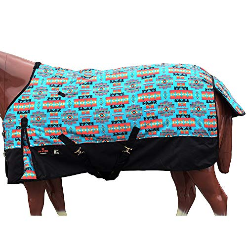 """HILASON 72"""" 1200D Poly Waterproof Turnout Winter Horse Blanket Turquoise"""