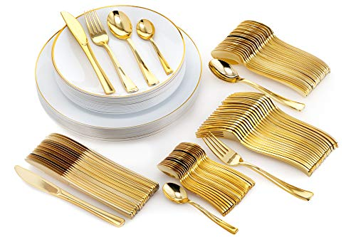 Trendables 120 Piece White And Gold Rimmed Elegant Premium Quality China Like Disposable Wedding Dinner Plates And Cutlery Set Including Forks Knives Spoons and Tea Spoons For 20 Guests