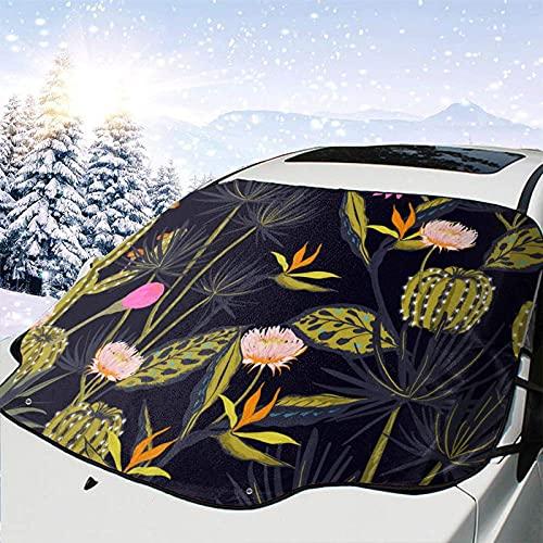 Tcerlcir Cubierta de Nieve para Parabrisas de automóvil Hermoso patrón de Verano Oscuro Cubierta de Parabrisas Cubierta de Nieve Delantera Parasol Protector de Parasol Plegable, 147x118cm
