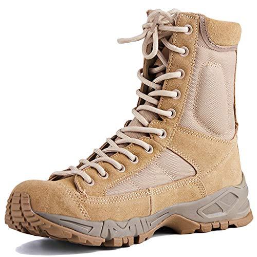 Wygwlg Hommes Été Bottes Militaires Armée Combat Jungle Bottes Tout Terrain Respirant Force de Police Chaussures de Travail Bottes de Montagne,Sand color-38