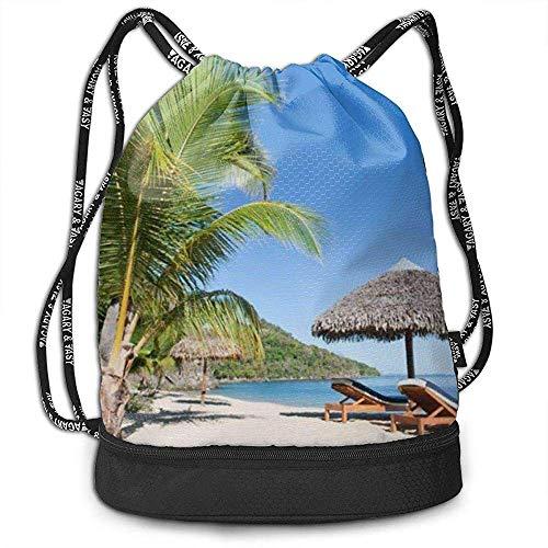 Valender Rucksack Kordelzug Tasche Tropical Beach Landschaft mit Liegestuhl und Sonnenschirm Gym Kordelzug Taschen