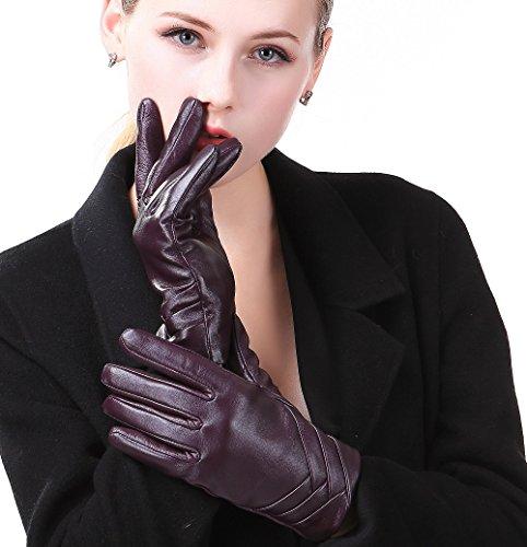 Harrms Damen Winter Handschuhe Warm Fäustingle Echt Leder Touch Screen Gefüttert mit Fütterung Wolle Lederhandschuhe, Violett