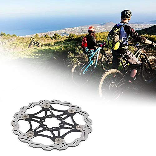 Bicycle Floating Disc Brake Rotor with 6 Bolts Floating Brake Disc Center Lock Bicycle Accessories for MTB Mountain Road Bike (Black,180mm)